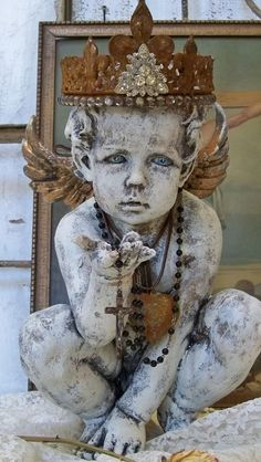 Large cherub statue with hand made crown by AnitaSperoDesign, $290.00