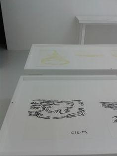 YOSEF JOSEPH DADOUNE  Installation View, at Château de Servières, Marseille. Drawings From 2014, 4 Wood Tables, white paint, plexiglas. Designed by : Matali Crasset. France 2016   Photographer : Joseph dadoune
