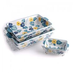 temp-tations® Floral Embroidery 9-pc. Oven-To-Table Set :: temp-tations® by Tara