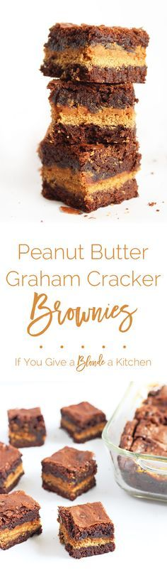These peanut butter graham cracker brownies are the love child of fudgy, chewy brownies recipe and peanut butter-coated graham crackers   ww.ifyougiveablondeakitchen.com