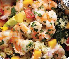 Grilled Shrimp With Avocado- Mango Salsa made in foil (bake in oven). Grilled Shrimp With Avocado- Mango Salsa made in foil (bake in oven). Healthy Recipes, Fish Recipes, Seafood Recipes, Great Recipes, Dinner Recipes, Cooking Recipes, Favorite Recipes, Recipies, Grilling Recipes