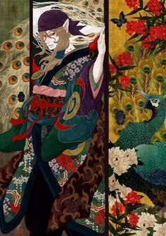 Peacock, Angel from Heavens that Dispel Darkness - pixiv Spotlight Manga Art, Manga Anime, Anime Art, Manga Illustration, Illustrations, Mononoke Anime, Hotarubi No Mori, Cute Pastel Wallpaper, Pokemon Fan Art