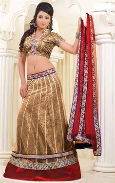 Picture of Glorious Chikoo Color Bridal Lehenga Cholis