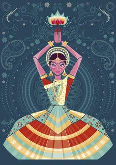 Hindi dancer, loto flower, henna, illustration M.Mar García