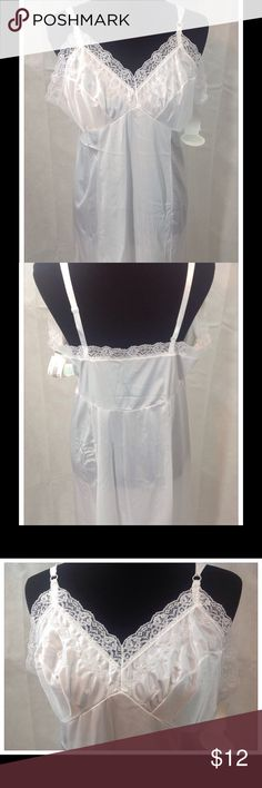 NWT - 2 Lacy Anti-cling slips Selling 2 for the price of 1!  2 white anti-cling average length slips. 100% Antron III nylon. Machine wash warm. Intimates & Sleepwear Chemises & Slips