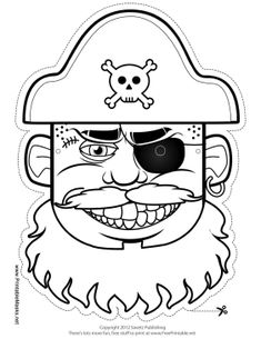 Pirate Captain Mask to Color Printable Mask, free to download and print