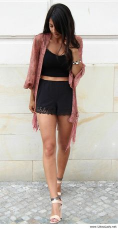 Women style clothing fashion outfit kimono top black bracelet pink coral heels skirt street summer hair girl