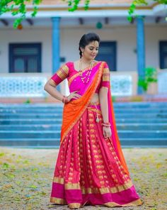 23 Elegant Saree Lehenga Designs For The South Indian Brides! Half Saree Lehenga, Lehenga Saree Design, Saree Look, Lehenga Designs, Saree Blouse, South Indian Bride Saree, Indian Bride Poses, Indian Wedding Photography Poses, Wedding Poses