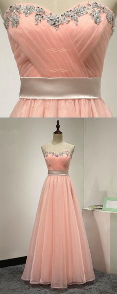 Pink chiffon strapless long beaded sweet 16 prom dress, pink customize evening dress for teens #prom #dress #promdress #promdresses