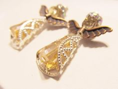Crystal Angel Earrings by RomanticThoughts on Etsy, $25.95
