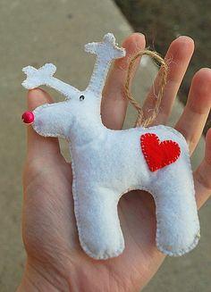 White Felt Reindeer by IrMarina on Etsy, $8.00 Reindeer, Felt, Christmas Ornaments, Holiday Decor, Etsy, Home Decor, Felting, Decoration Home, Room Decor