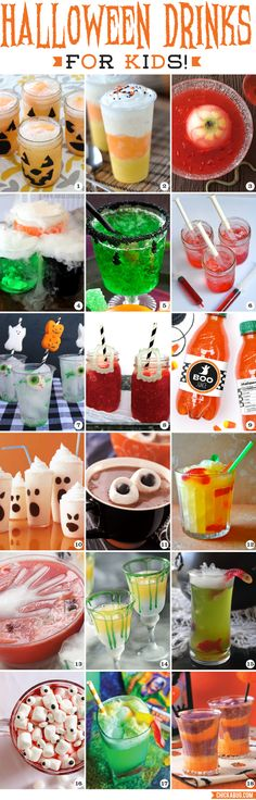 Halloween Drinks for Kids. Fun and easy non-alcoholic recipes for Halloween parties!