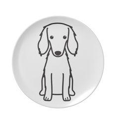 Saluki Dog Cartoon Dinner Plate