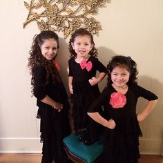 Sisters wearing our Dreaming in Vintage dress in black from our girls' line!