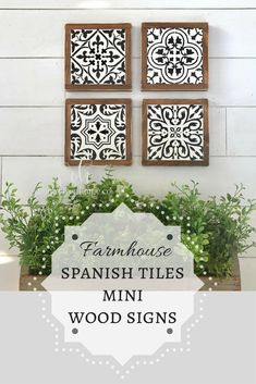 I'm loving these Spanish tile mini wood signs (set of four). They would look great in a farmhouse, especially if there is flooring like this or an area rug that ties in with the colors! They would also look good as Gallery wall pieces. #farmhouse #wallart #ad #etsy #gallerywall #rusticdecor