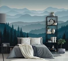 Removable Peel n Stick Wallpaper Self-Adhesive Wall Mural Mountain Mural Wallpaper Nursery Ombre Blue Mountain Pine Forest Trees Bedroom Murals, Bedroom Decor, Wall Decor, Bedroom Ideas, Bedroom Wall Designs, Design Bedroom, Mountain Mural, Blue Mountain, Forest Mountain