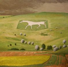 'White Horse Alton Barnes' by David Inshaw. Landscape Art, Landscape Paintings, Landscapes, Chalk Hill, Tate Gallery, Magic Realism, White Horses, Arts And Crafts Movement, Print Artist