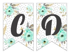 Free Printable Alphabet Banner Mint and Gold | Free Printable Letters for Banners | Free Printable Banner Letters Mint | Free Printable Banner Alphabet Mint | Decorating for your next party is easy when you download this gorgeous mint & gold floral alphabet banner on the Six Clever Sisters blog!! Free Printable Alphabet Letters, Printable Letter Templates, Free Printables, Happy Birthday Banner Printable, Printable Birthday Banner, Eid Stickers, Free Banner, Floral Banners, Mint Gold