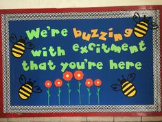 Back to school bulletin board that welcomes the kids