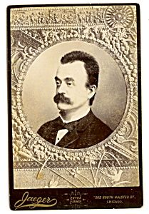 Ornate Cabinet Photo: Distinguished Chicago Man with Big Mustache