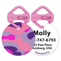 Pawdentify Pet ID Tag with Matching LinksIt with Kevlar Connector  Easy to Read  Durable  Easy to Attach  Dogs  Cats  20 Designs 2 Sizes  Made in USA Camo  Pink Standard ** This is an Amazon Affiliate link. You can get additional details at the image link.