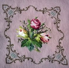 Vintage Floral Needlepoint Pillow Top / Chair Cover - Roses with Pink Background - Roses Needlepoint Pillow Cover - Vintage Needlework