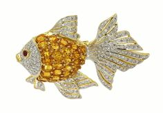 AMAZING 18K YELLOW GOLD, DIAMONDS & YELLOW SAPPHIRES LADIES 3D FISH PIN BROOCH