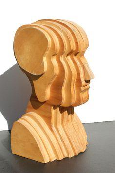 Abstract Folk Art Plywood Bust at 1stdibs