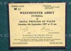 Invite to the funeral of Diana, Princess of Wales