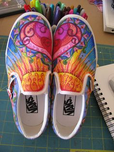 Color a pair of white sneakers with shapie fabric marker art. Instead of eating.