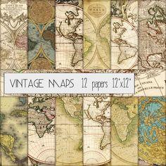 "Vintage Maps Digital Scrapbook Paper Set of 12 - 12""x12"" Grungy Old Map Distressed Map Antique Map Medieval MapCardmaking Scrapbooking DGScrapbook 4.50 USD"