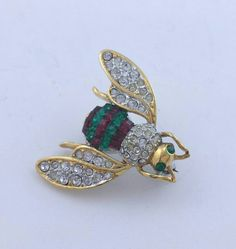 Rhinestone Bee Pin Vintage Insect Brooch by LadyandLibrarian