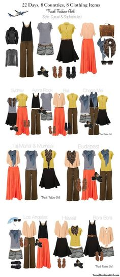 22 Days, 8 Countries, 8 Clothing Items, 22 Travel Outfits via TravelFashionG #travel