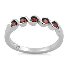 Quintuple Dark Garnet Ring
