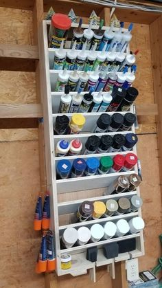 RYOBI NATION - Spray Can / Caulk Storage Spray Can / Caulk Storage - RYOBI Nation Projects ideas diy ideas hangout ideas interior ideas painted ideas storage ideas workshop Garage Workshop Organization, Garage Tool Storage, Workshop Storage, Garage Tools, Shed Storage, Diy Storage, Tool Shop Organization, Organizing Tools, Woodworking Organization