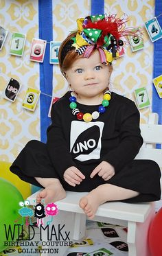 UNO First Birthday Girl Flare Leg Pant Set - Baby Girls First Birthday Outfit. $45.00, via Etsy.