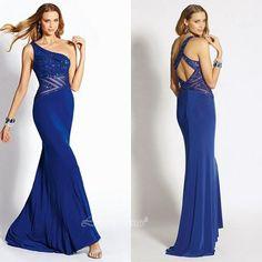 News Blue Prom Dresses Sheath One Shoulder Beading Prom Dresses Sexy Open Back Prom Dresses 2014 Che on Luulla
