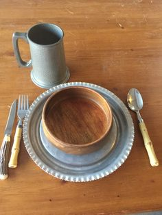 SCA feastware set of 6 items, midieval kitchen, renaissance kitchen, middleages tableware feastgear, pewter plate, wooden bowl, mug, utensil by SweetThursday on Etsy