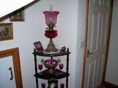 VICTORIAN STUNNING CRANBERRY OIL LAMP
