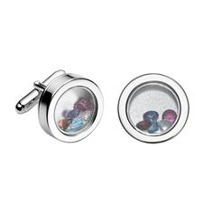 Birthstone Locket Cufflinks from Luna & Stella -  Luna & Stella - customize with the birthstones of his loved ones! A meaningful Father's Day gift.