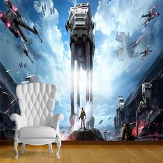 Star Wars At At Attack Wall Art Wall Mural Self Adhesive Vinyl Decal  Wallpaper Part 34