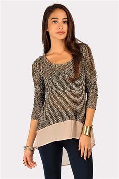 Chiffon Trim Sweater