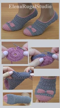 Remnants of semi-wool yarn of two colors g wool, acrylic, 300 m in 100 g), wool yarn wool, 300 m in 100 g) can also be used; Socks are suitable for the size of the legs cm). Crochet Slipper Boots, Crochet Baby Shoes, Crochet Clothes, Crochet Slipper Pattern, Crochet Patterns, Knitted Slippers, Easy Crochet, Crochet Stitches, Crochet Projects