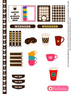 Free Coffee Cups Mugs Planner Stickers for Erin Condren Life Planner {also available for The Happy Planner}