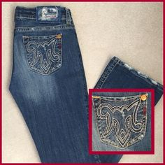"MEK ""Mykonos"" Bootcut Jeans! MEK ""Mykonos"" bootcut jeans. Low-rise 5 pocket style. Distressed and super soft. Embroidery on both back pockets. 34"" inseam. Excellent condition. 228201679 MEK Jeans Boot Cut"