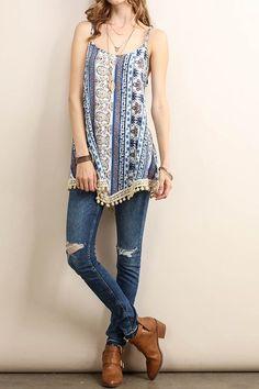 Paisley Print Sleeveless Top With Crochet Bottom