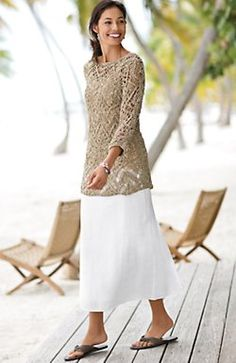 White skirt and lacy beige top