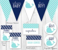 Whale Baby Shower Package Aqua & Navy. by HauteChocolateFavors, $15.00