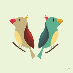 the cutest twin birds #illustration #birds #nfho