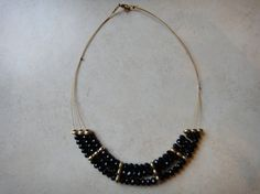 three-strand beaded statement necklace